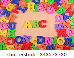 plastic colored alphabet... | Shutterstock . vector #343573730