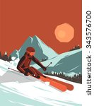 vector illustration with skier... | Shutterstock .eps vector #343576700