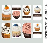 visit cards with cupcake in... | Shutterstock .eps vector #343580216