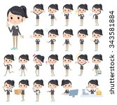 set of various poses of... | Shutterstock .eps vector #343581884