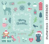 merry christmas decoration... | Shutterstock .eps vector #343583630