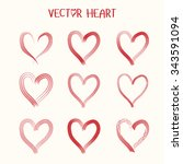 set of  vector heart icon.... | Shutterstock .eps vector #343591094