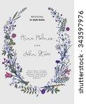 the wreath of wild flowers.... | Shutterstock .eps vector #343597976