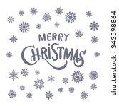 merry christmas lettering art... | Shutterstock .eps vector #343598864