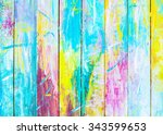 colorful  wooden painted... | Shutterstock . vector #343599653