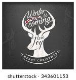 calligraphic christmas greeting ... | Shutterstock .eps vector #343601153