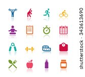 fitness icons | Shutterstock .eps vector #343613690