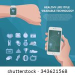 vector smart watch and... | Shutterstock .eps vector #343621568