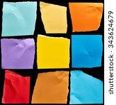 pieces of cardboard on black...   Shutterstock . vector #343624679