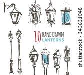 Hand Drawn Lantern Set. Ink...