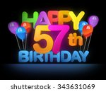 happy 57th title in big letters ... | Shutterstock . vector #343631069