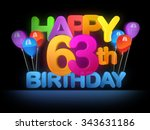 happy 63rd title in big letters ... | Shutterstock . vector #343631186