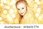 beautiful blonde woman in a... | Shutterstock . vector #343631774