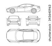 car line draw blueprint front... | Shutterstock .eps vector #343640963