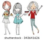 set with cartoon girls with food | Shutterstock .eps vector #343641626