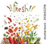 fresh food choice   healthy... | Shutterstock . vector #343642298