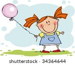 funny girl  with balloon | Shutterstock .eps vector #34364644