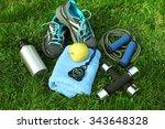 sports equipment on green grass ... | Shutterstock . vector #343648328