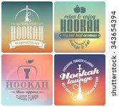 vector hookah labels and badges.... | Shutterstock .eps vector #343654394