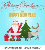 christmas poster design with... | Shutterstock .eps vector #343670060