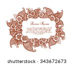 indian flowers and paisleys... | Shutterstock .eps vector #343672673