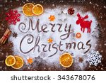 merry christmas text made with... | Shutterstock . vector #343678076