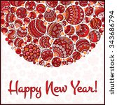 happy new year greeting card.... | Shutterstock .eps vector #343686794