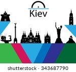 set of 9 cliparst of kiev... | Shutterstock .eps vector #343687790