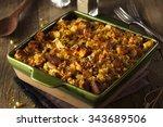 traditional homemade cornbread... | Shutterstock . vector #343689506
