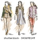 fashion models in a sketch... | Shutterstock . vector #343698149