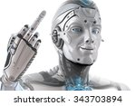 good mood male robot showing f... | Shutterstock . vector #343703894