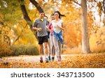 Young Friends Jogging Parkautumn Season - Fine Art prints
