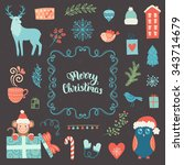 merry christmas decoration... | Shutterstock .eps vector #343714679