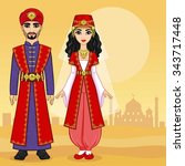 animation arab family.   Shutterstock .eps vector #343717448
