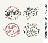 hand sketched happy holidays... | Shutterstock .eps vector #343719230