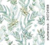 floral seamless pattern.... | Shutterstock . vector #343724588