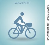 flat cyclist icon | Shutterstock .eps vector #343726298