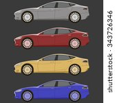 cars set side view vector... | Shutterstock .eps vector #343726346