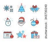 merry christmas symbols... | Shutterstock .eps vector #343730240