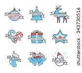 merry christmas symbols... | Shutterstock .eps vector #343730516