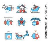 merry christmas symbols... | Shutterstock .eps vector #343731224