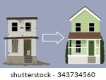 old  rundown house turned into... | Shutterstock .eps vector #343734560