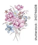 watercolor illustration bouquet ... | Shutterstock . vector #343746608