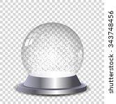 crystal snow globe transparent...   Shutterstock .eps vector #343748456