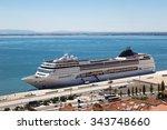 big cruise ship is docked in... | Shutterstock . vector #343748660