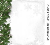 christmas white background with ... | Shutterstock . vector #343751540