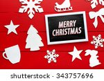 beautiful wooden christmas...   Shutterstock . vector #343757696