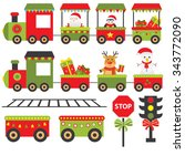 train merry christmas greeting | Shutterstock .eps vector #343772090
