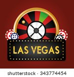 las vegas concept with casino... | Shutterstock .eps vector #343774454