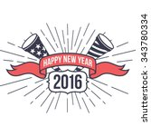 hipster new year 2016  badge... | Shutterstock .eps vector #343780334